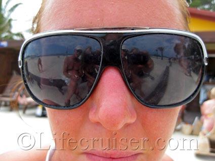 Sunglasses reflection at Alcudia Beach, Majorca, Photo Copyright Lifecruiser.com