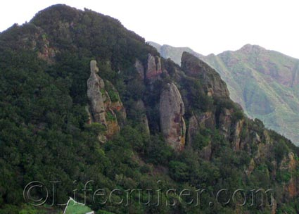 Rock standings on a mountain in Anaga area, Tenerife North, Photo by Lifecruiser