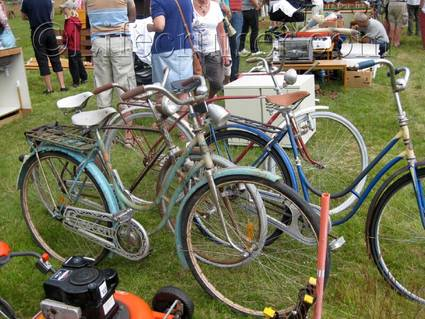 An old Crescent bicycle at an countryside auction at Lauters, Fårö island, Gotland, Sweden, Copyright Lifecruiser.com
