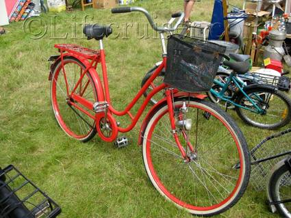 A red bicycle at an countryside auction at Lauters, Fårö island, Gotland, Sweden, Copyright Lifecruiser.com