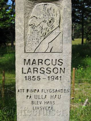 Stone to honor Marcus Larsson who initiated the planting project, Fårö island, Gotland, Sweden, Copyright Lifecruiser.com