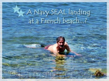 Renny swims at Bandol beach, Provence, France, Copyright Lifecruiser.com