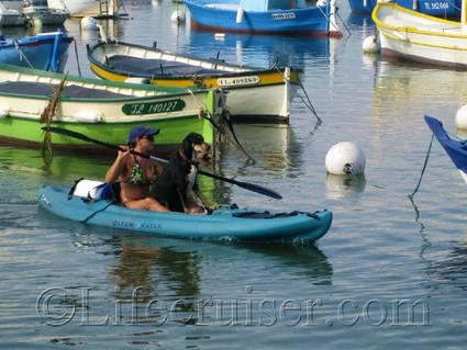 Dog on vacation - kayaking, France