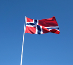 Norway's Flag with a blue sky