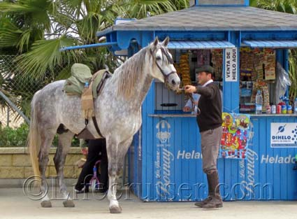 Romeria San Jose Rider with Horse at Sanlucar kiosk, Photo by Lifecruiser