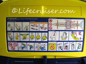 Ryanair Boeing 737-800 Safety Information sheet