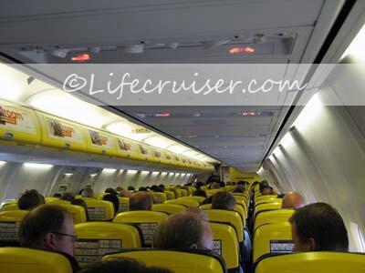 Ryanair flight passengers in airplane