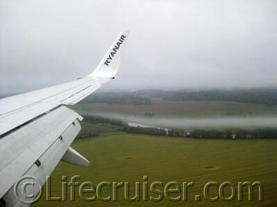 Ryanair airplane wing at landing in Stockholm Skavsta