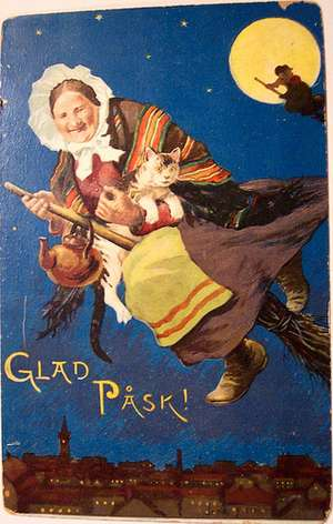 Swedish Easter Witches Vintage Card