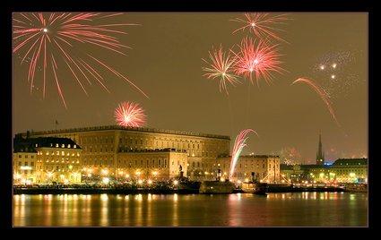 Fireworks over Stockholm Royal Palace,  Sweden, Copyright Lifecruiser.com