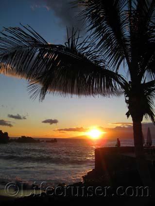 Romantic sunset at Puerto de Santiago, Tenerife, Canary Islands, Spain