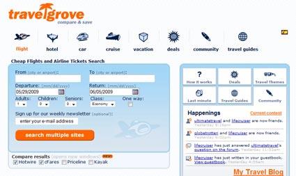 Travelgrove's frontpage