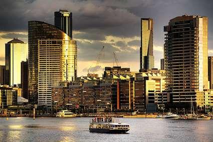 Australia: Melbourne Cityscape and river boat