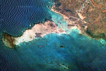 Crete, Greece: Elafonisi beach satellite view