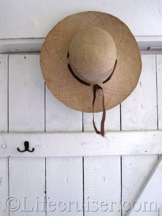 Hat on farm door, Faro, Gotland, Sweden