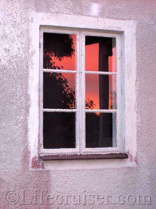 Rural-sunset-window, Gotland, Sweden