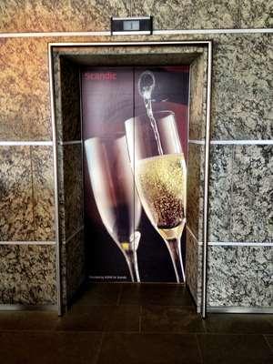 Finland, Helsinki: Scandic Hotel Elevator Champagne Doors