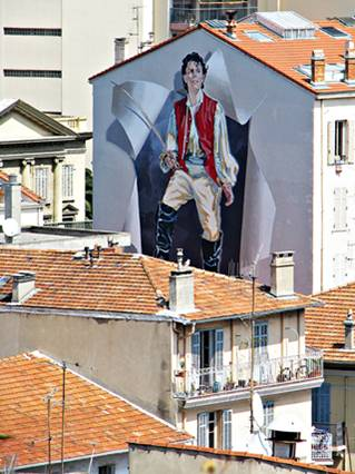 France wall painted man with sword
