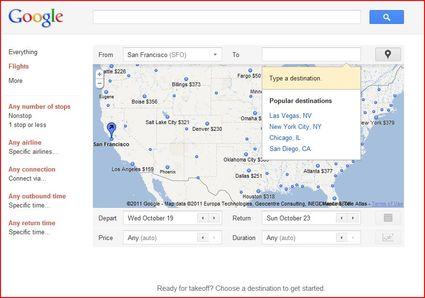 Google flight search engine