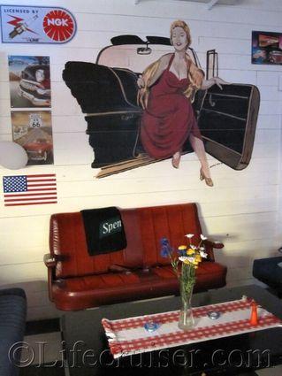56ans Nostalgia cafe sofa, Gotland, Sweden