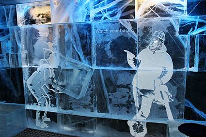 Icebar ice blocks art interior Stockholm