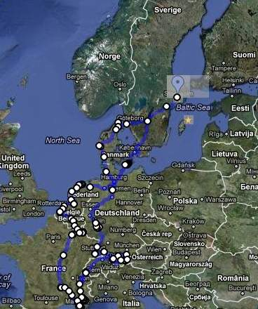 Lifecruiser Europe Roadtrip Route Map 2012