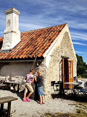 Rute, Gotland: Boys at Limestone Cottage