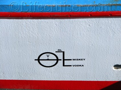 Boat waterline drinks text, Sweden