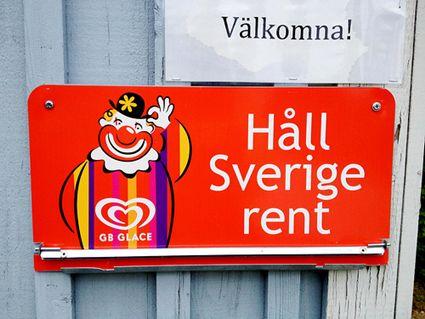 Keep Sweden clean GB sign