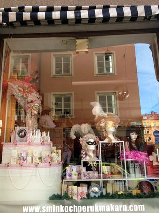 Stockholm makeup and wig shop window, Sweden