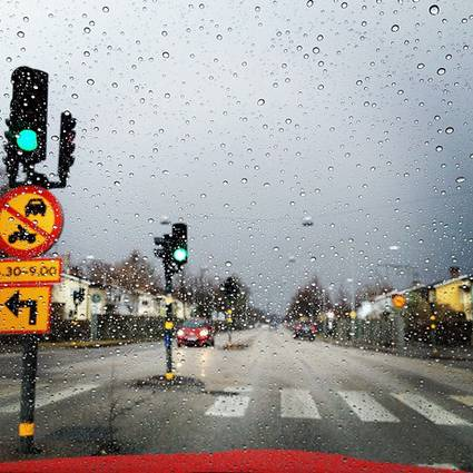 Sweden: Stockholm road view with raindrops