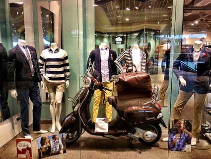 Sweden, Stockholm: shop scooter with bag - perfect for the traveler
