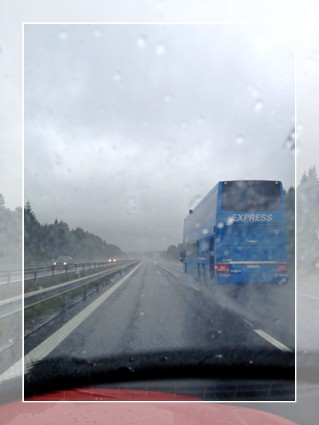 Swedish rainy weather road