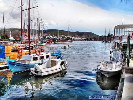 Boats in Bodrum harbor, Turkey